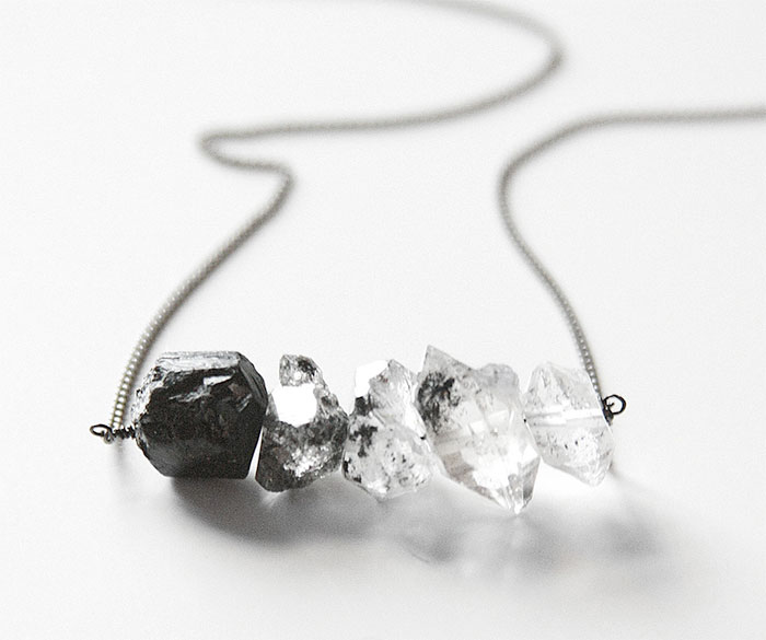 Gemstone Necklace Sale at Midwinter Co. - Black Tourmaline Herkimer Diamond Ombre Necklace