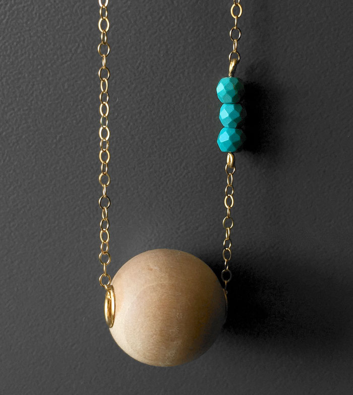 Gemstone Necklace Sale at Midwinter Co. - Essential Oil Aromatherapy Diffuser Wood and Turquoise Necklace
