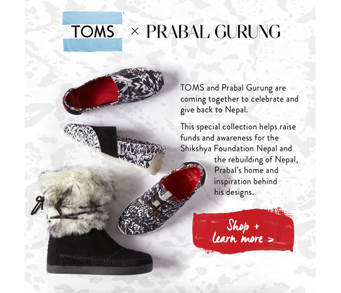 The TOMS x Prabal Gurung Collection for Nepal