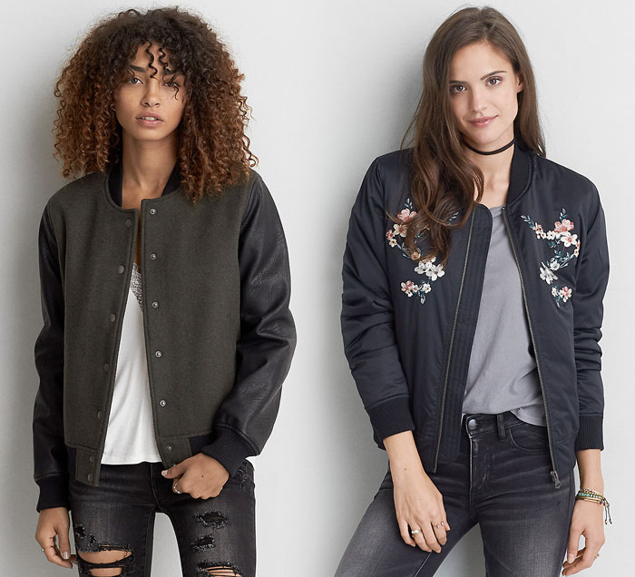 New Bomber Jackets for Fall at American Eagle Outfitters - Wool and Embroidered Bombers