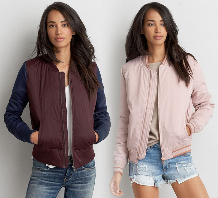 New Bomber Jackets for Fall at American Eagle Outfitters - Colorblocked and Tipped Bombers