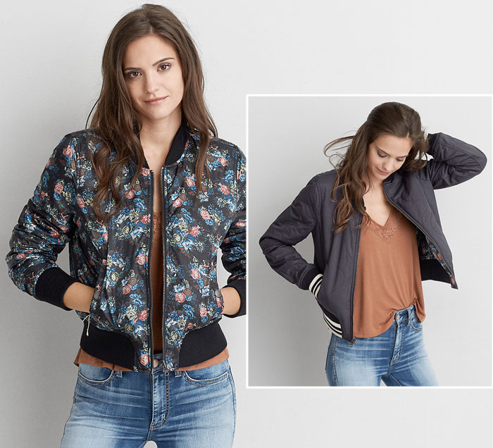 New Bomber Jackets for Fall at American Eagle Outfitters - Reversible Bomber