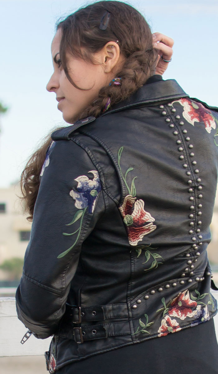 The BLANKNYC Embroidered Moto Jacket in As You Wish - Jacket Back Detail
