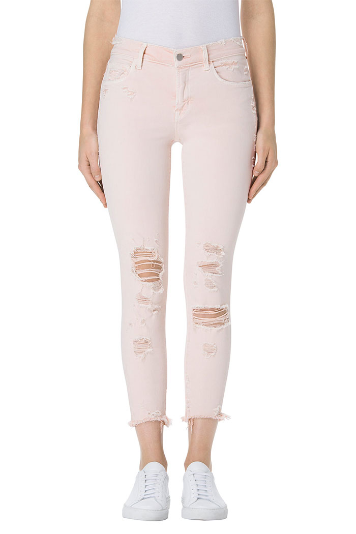 Pretty in Pink Destroyed Denim at J Brand - 835 Capri