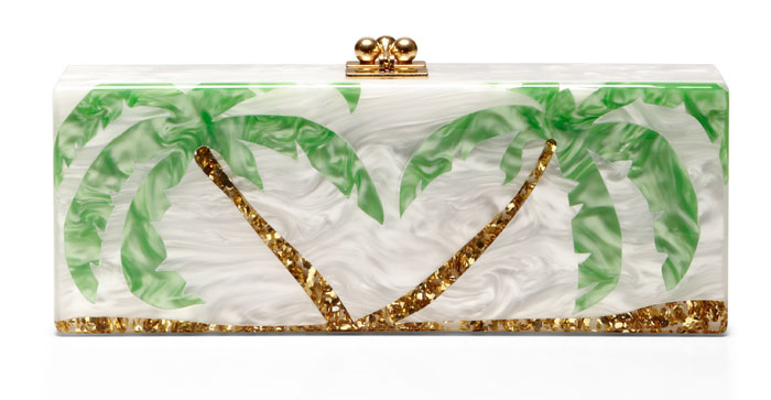 Edie Parker Flavia Palms Pearlescent Acrylic Clutch