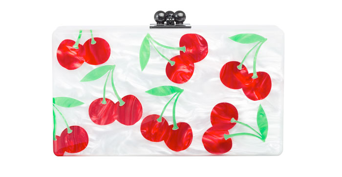 Edie Parker Jean Cherries Acrylic Clutch Bag, White/Red