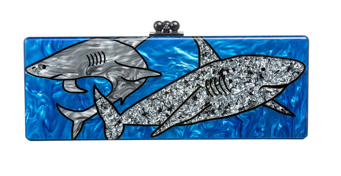 Edie Parker Sharks Acrylic Clutch Bag, Ocean Multi