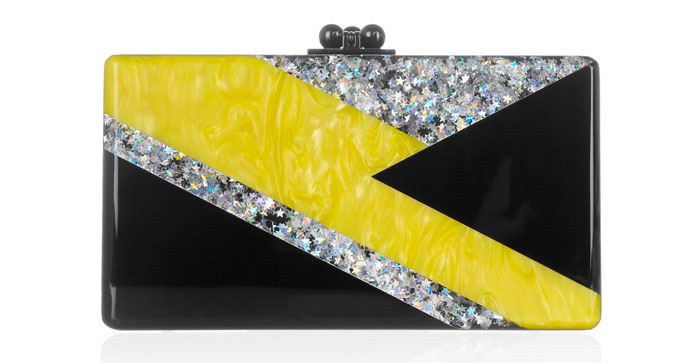 Edie Parker Ziggy glitter and pearl-effect box clutch