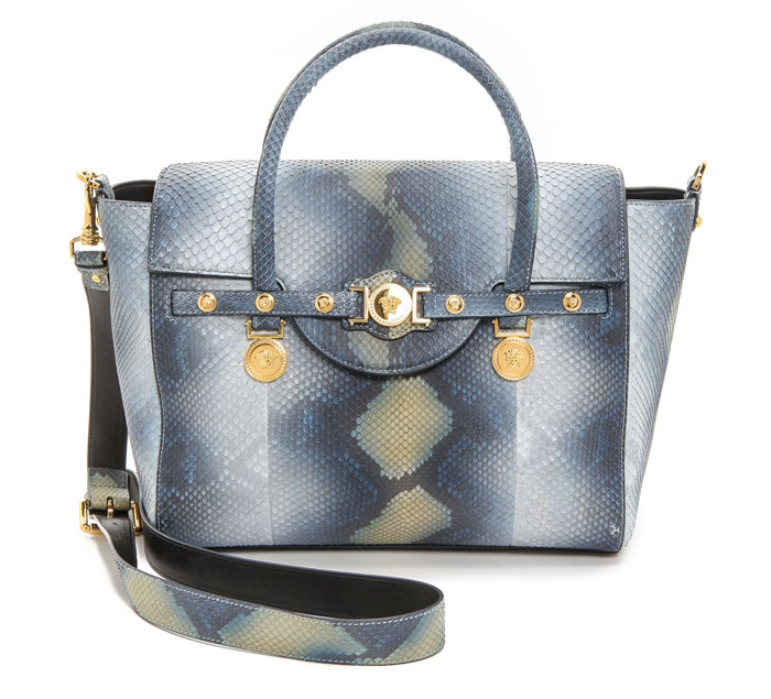 Versace Snakeskin Multi Bag in Grigio/Blue/Oro