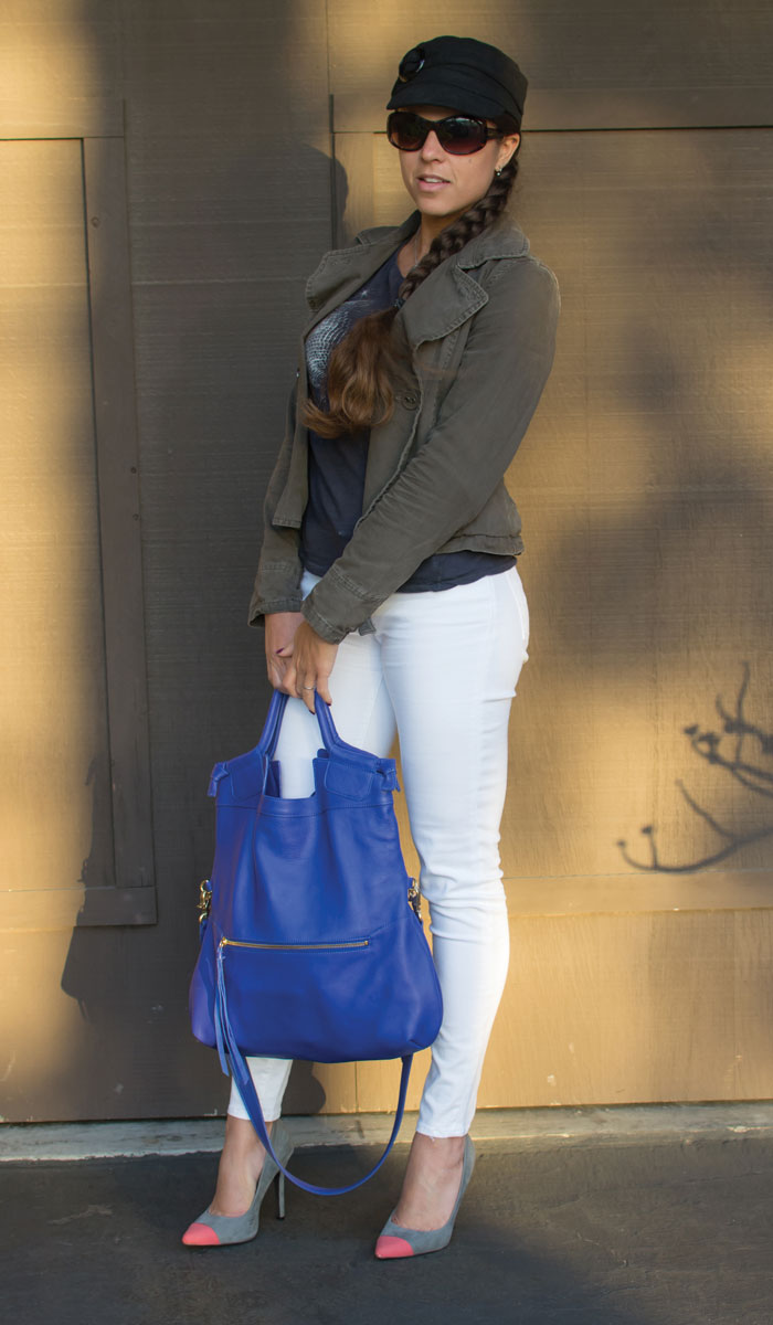 Foley & Corinna Mid City Tote in Cobalt - Side View