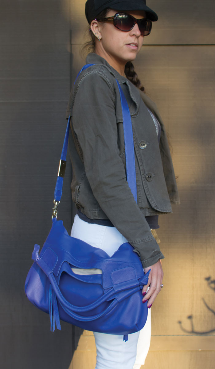 Foley & Corinna Mid City Tote in Cobalt - Side View Closeup