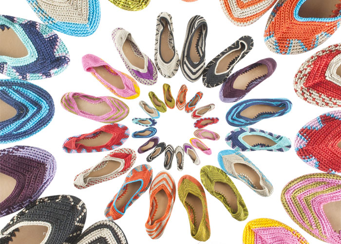 Colorful Crocheted Artisan Footwear by Painted Bird