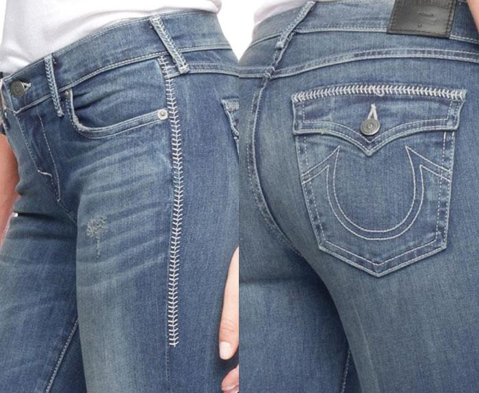 True Religion Introduces Baseball Stitching - Cora Midrise Straight - Detail