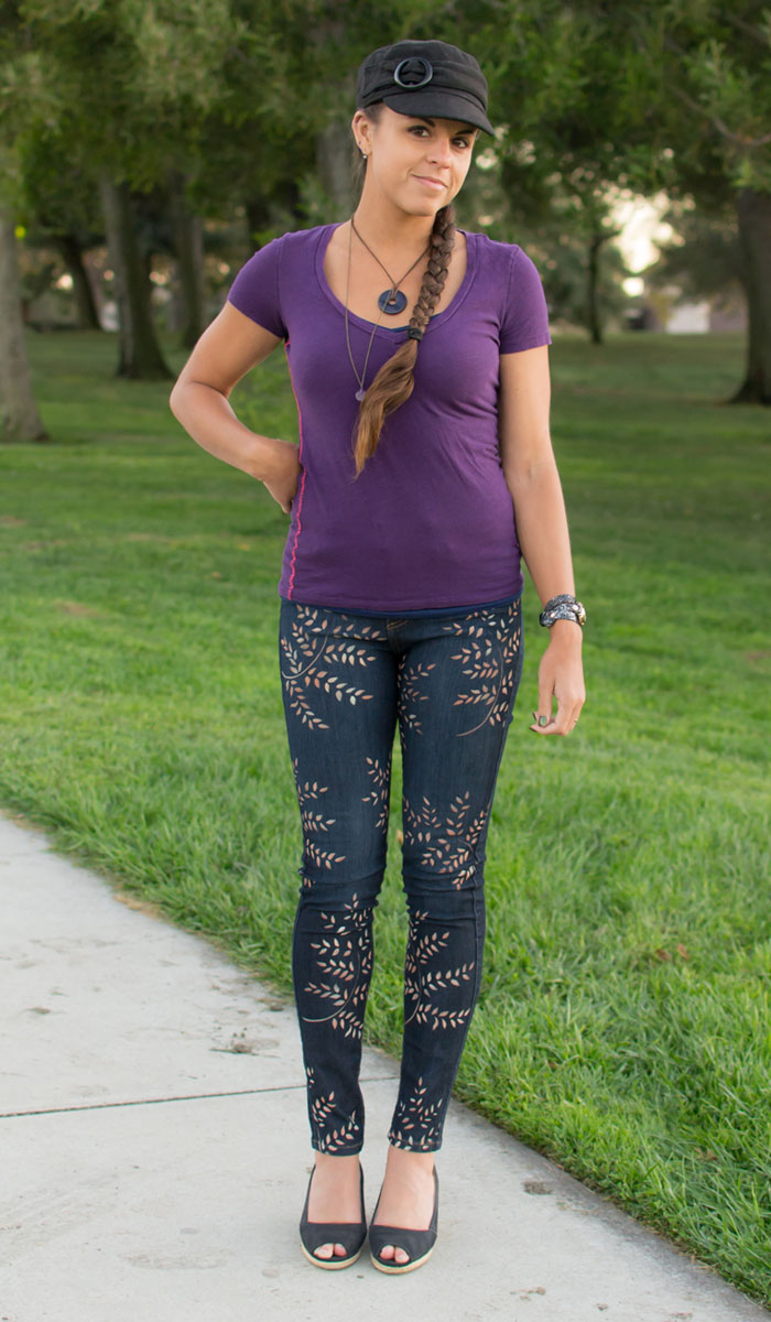 Dragonfly by J. Claire Custom Personal Pair Painted Jeans Review on Denimology - Front View