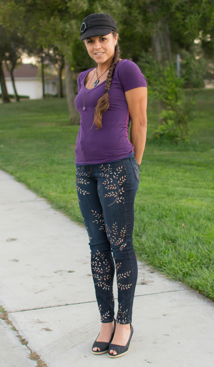Dragonfly by J. Claire Custom Personal Pair Painted Jeans Review on Denimology - Side Angle View