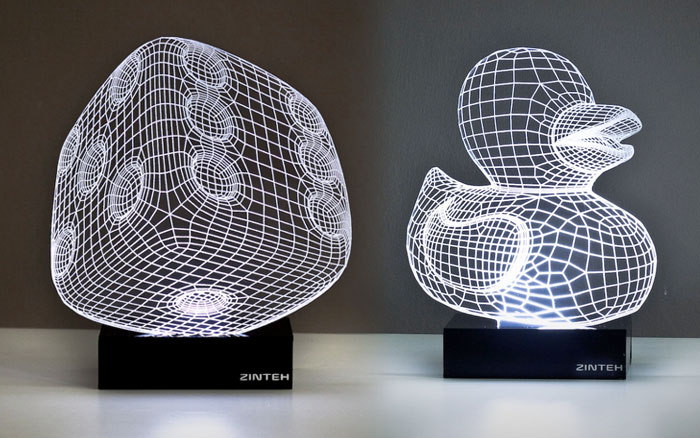 Trippy 3D LED Lamps by Zinteh - Lucky Dice and Rubber Ducky