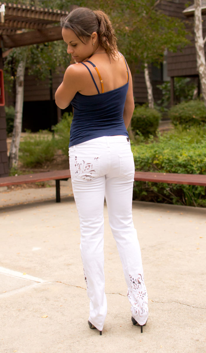 Dragonfly by J. Claire Custom Painted Jeans in Barcelona Tile Review on Denimology - Back View