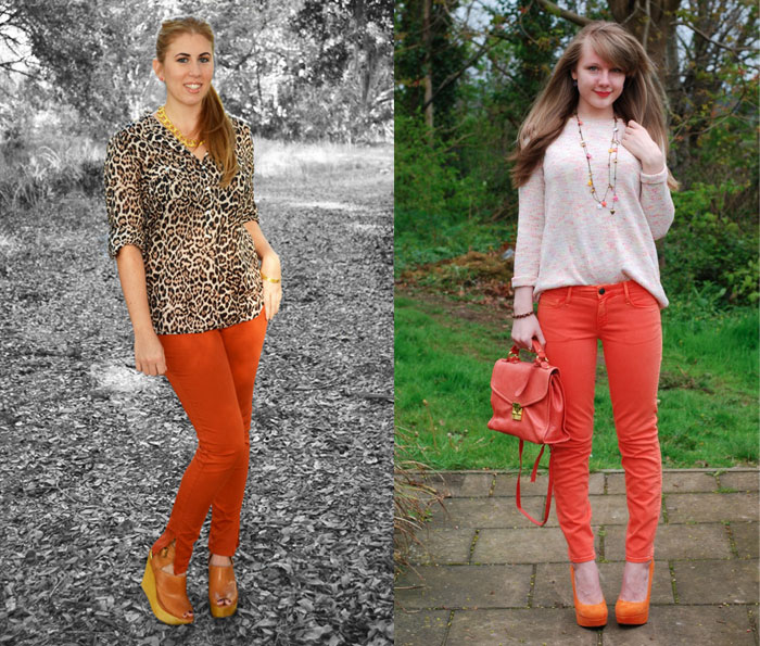 Orange Denim for Thanksgiving - Real Girl Glam and Lorna Burford from Denimblog