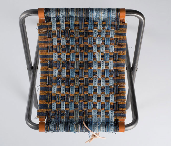Nudie Jeans turns Recycled Jeans Into Furniture and Rugs - Camper Seat Light Blue