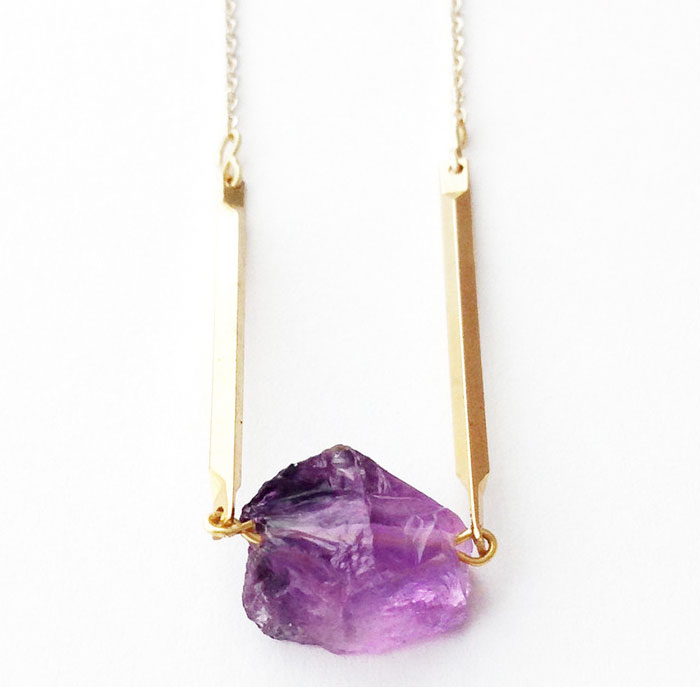 Rustic Gemstone Jewelry from Midwinter Co - Amethyst Necklace