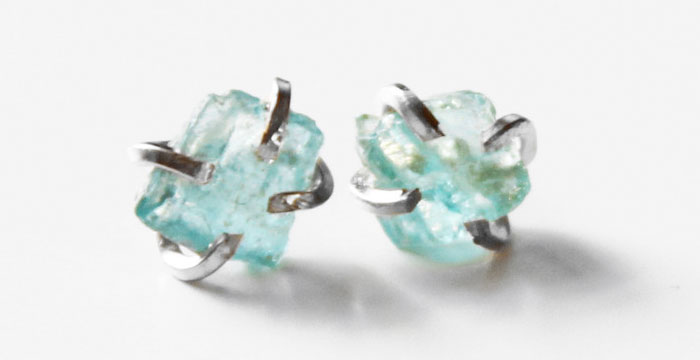 Rustic Gemstone Jewelry from Midwinter Co - Apatite Earrings