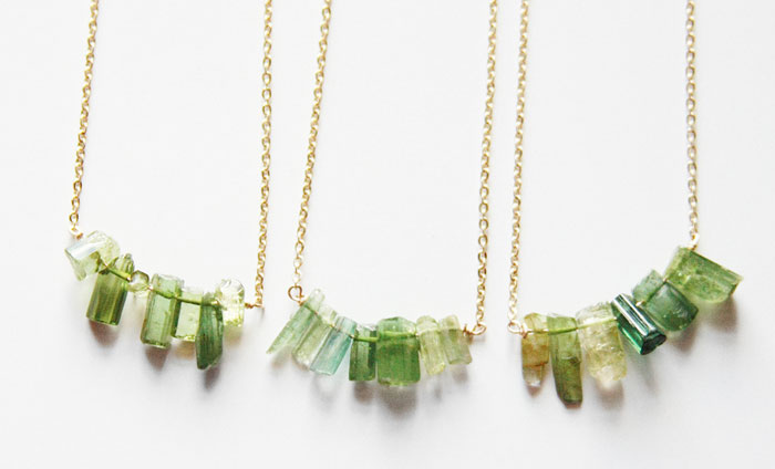 Rustic Gemstone Jewelry from Midwinter Co - Green Tourmaline Necklaces
