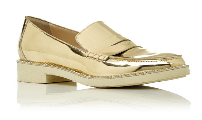 Shimmery Golden Awesomeness by Oscar de la Renta - Tenzin Loafer In Metallic Gold