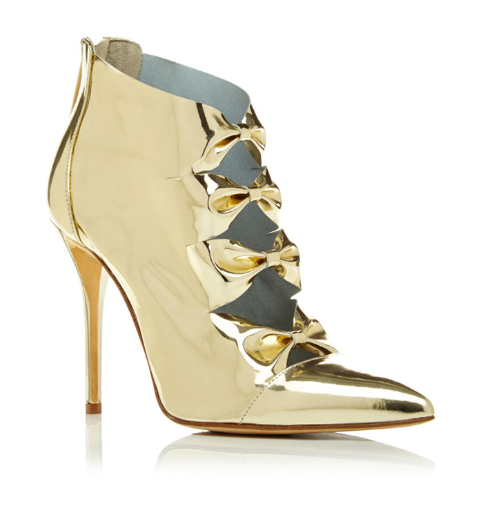 Shimmery Golden Awesomeness by Oscar de la Renta - Tobin Bootie In Platinum Patent Leather