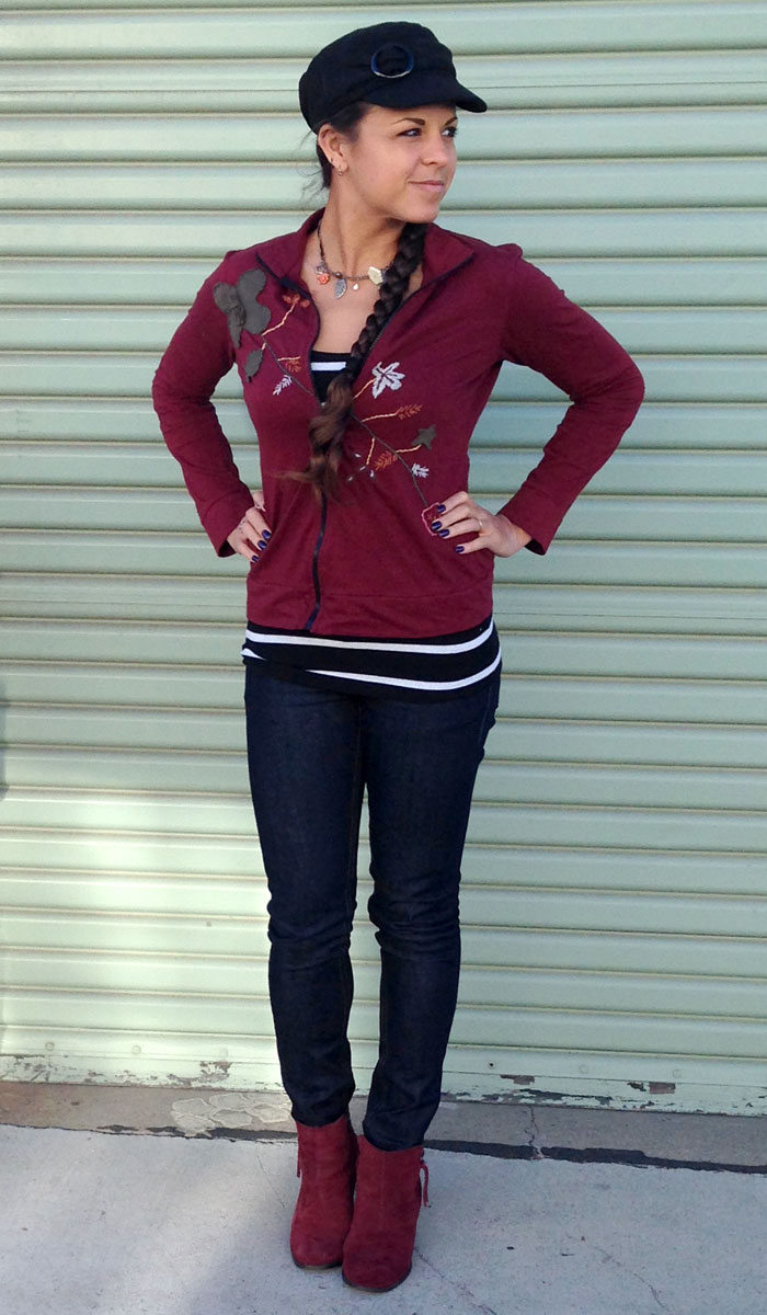 Burgundy and Stripes - Front View