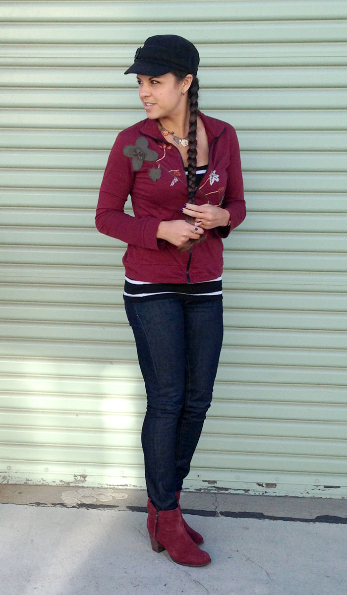 Burgundy and Stripes - Side Angle View 3
