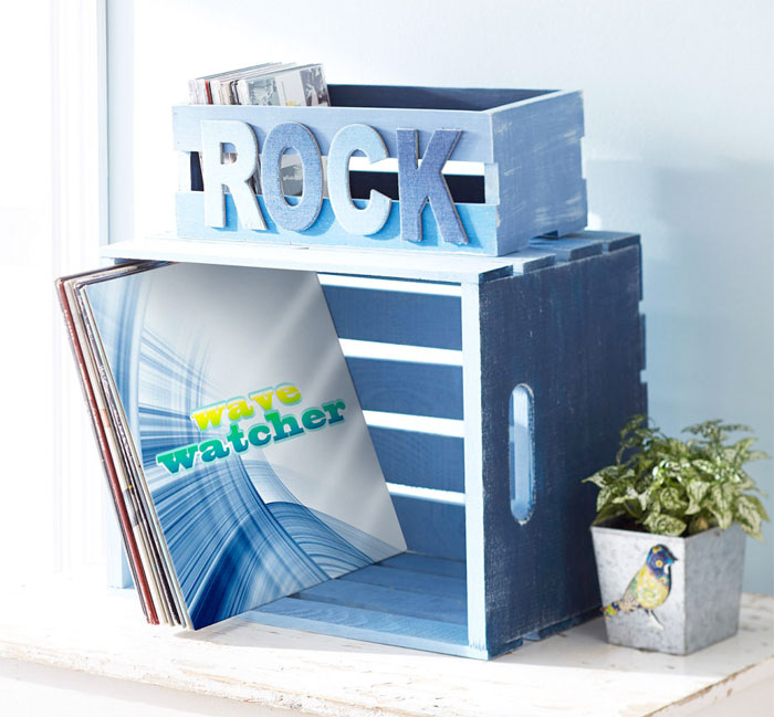 Crafting with Denim at Michael's - Rock Denim Ombre Painted Wood Crate
