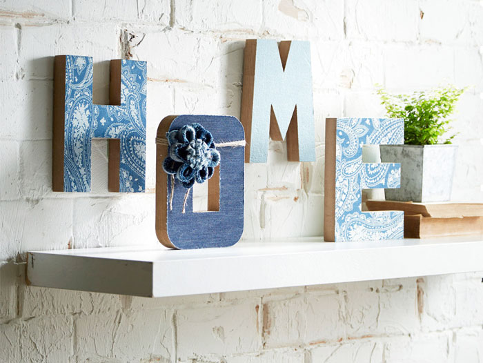 "Crafting with Denim at Michael's - Denim Embellished ""Home"" Letters"