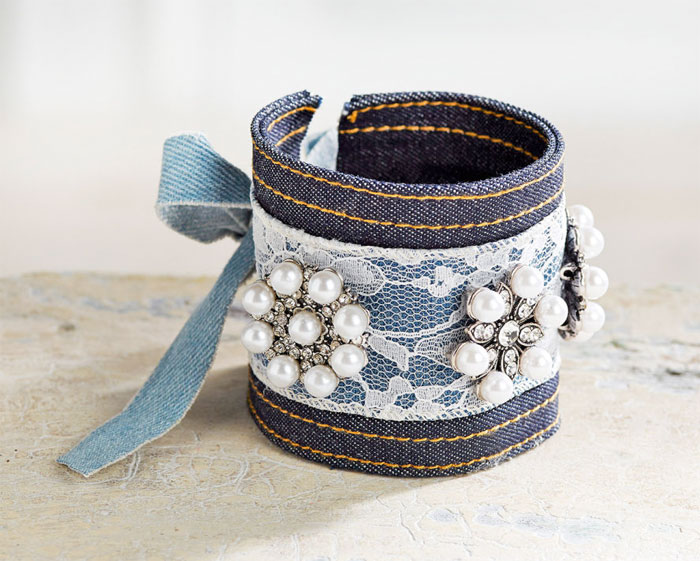 Crafting with Denim at Michael's - Denim Cuff Bracelet