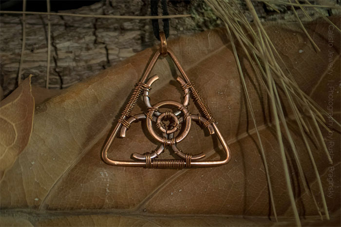 Recycled Scrap Metal Adornments by Calisto Jewelry - Biohazard Copper Pendant