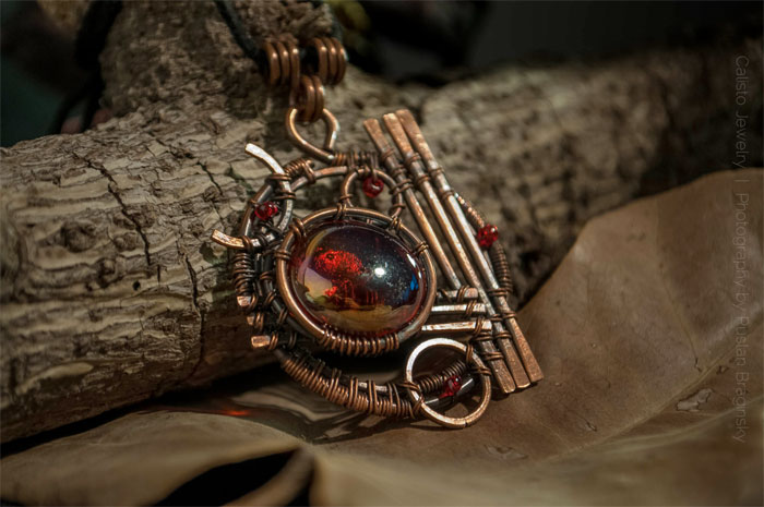 Recycled Scrap Metal Adornments by Calisto Jewelry - Celestial Sphere #1