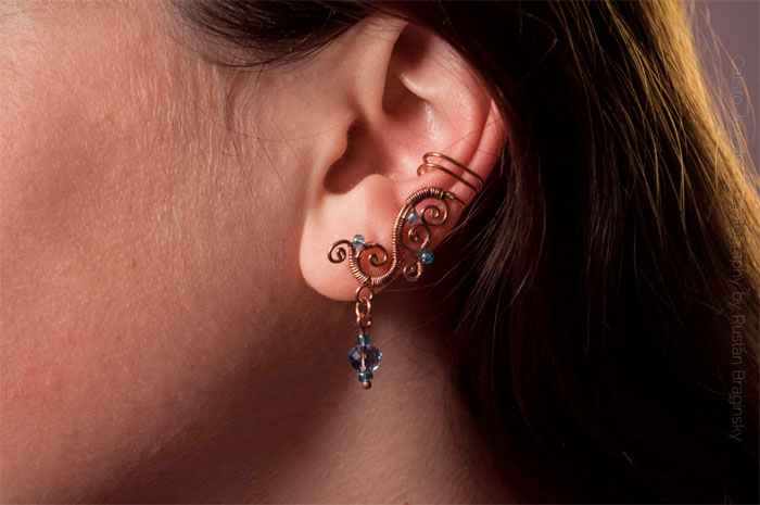 Recycled Scrap Metal Adornments by Calisto Jewelry - Root of Life Copper Earring
