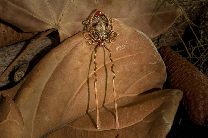 Recycled Scrap Metal Adornments by Calisto Jewelry - Fleur-De-Lis Hair Pin