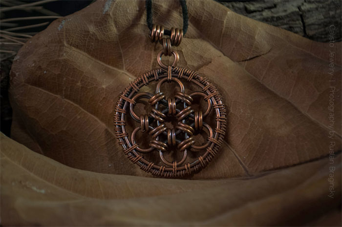 Recycled Scrap Metal Adornments by Calisto Jewelry - Seed of Life Pendant