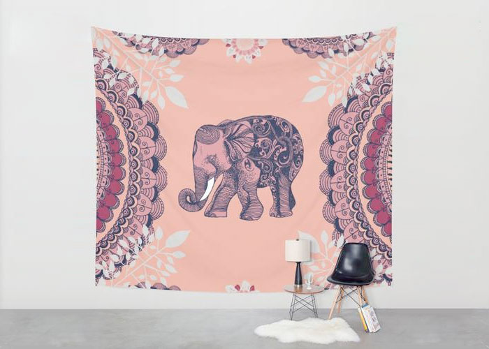 Society6 and The Coterie for Independent Artists - Society 6 - Bohemian Elephant Tapestry by Rskinner1122