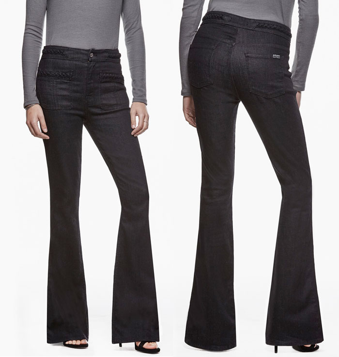 Braided Denim Details by 7 For All Mankind - Braided High Waist Flare in True Black