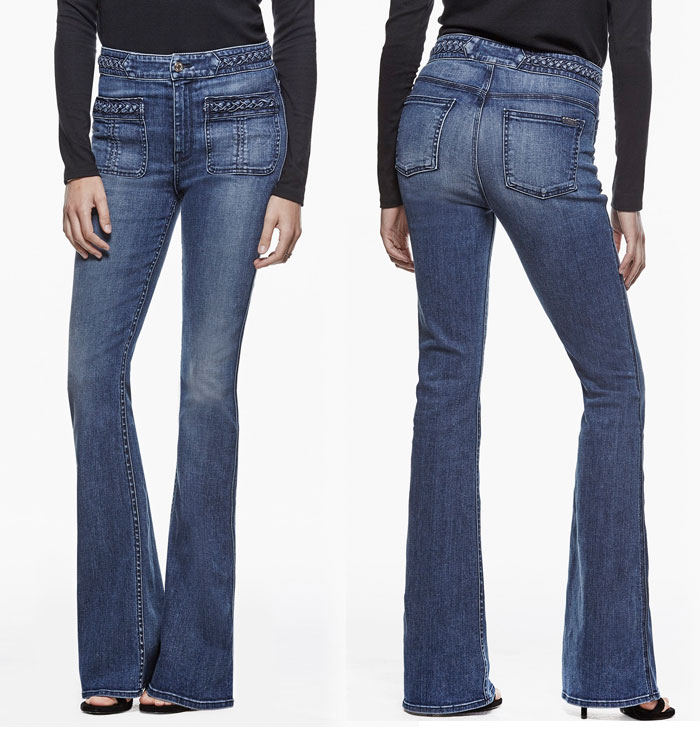 Braided Denim Details by 7 For All Mankind - Braided High Waist Flare in Vivid Medium Indigo