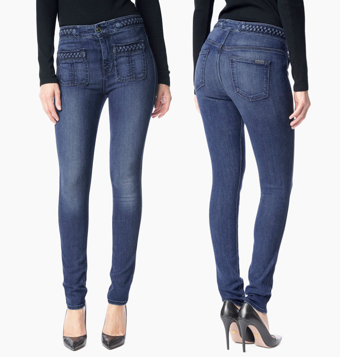 Braided Denim Details by 7 For All Mankind - Braided Skinny in Vivid Medium Indigo