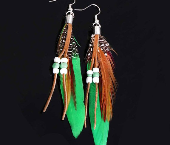 Favorite Finds from Etsy - Colorful Feather Earrings by FestivalTradingCo