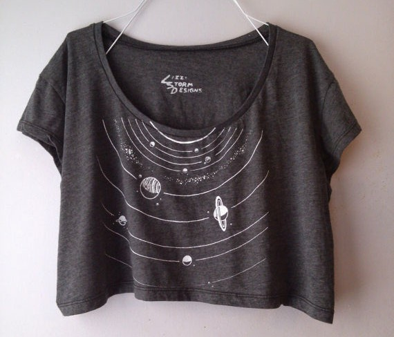 Favorite Finds from Etsy - Grey Solar System Crop Tee by LizzyStormDesigns