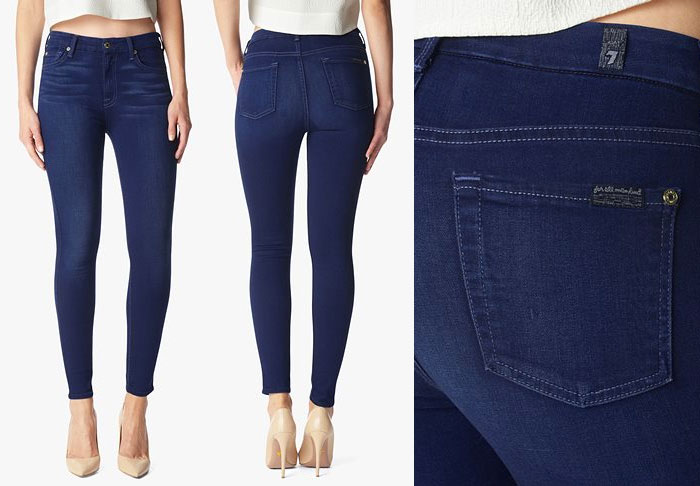 Slim Illusion Luxe by 7 For All Mankind - High Waist Ankle Skinny in Dark Legacy