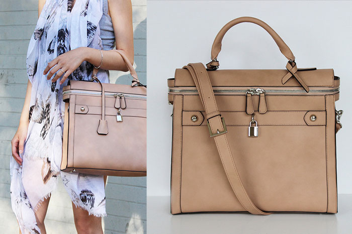 Changing The World with Angela Roi Handbags - Square Tote II in Nude