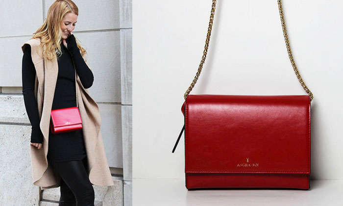 Changing The World with Angela Roi Handbags - V Chain Crossbody in Red