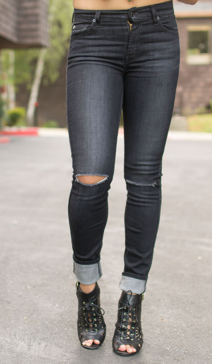 7 For All Mankind Slim Illusion Skinny in Icy Black 2 Review ...
