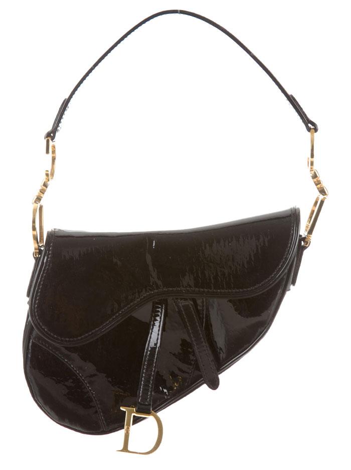 The Good Old Christian Dior Saddle Bag - Black Patent