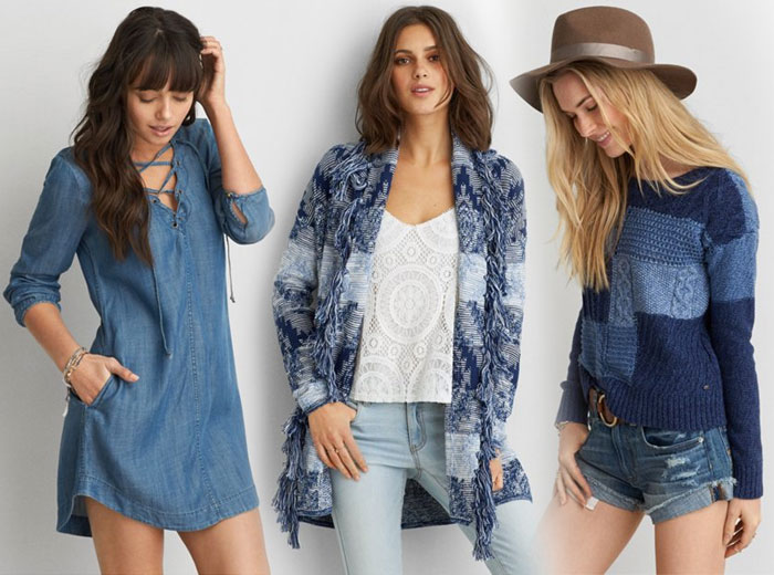 New Denim and Blues from AEO - Denim Dress and Sweaters